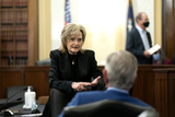 Alabama Photo - United States Senator Cindy Hyde-Smith (Republican of Mississippi) speaks to United States Senator Tommy Tuberville (Republican of Alabama) prior to a US Senate Agriculture Nutrition and Forestry Committee hearing at the Russell Senate Office Building on Capitol Hill in Washington DC US on Thursday March 25 2021 Credit Stefani Reynolds  CNPAdMedia