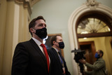 Donald Trump Photo - Senator Ben Sasse a Republican from Nebraska wears a protective mask while walking through the US Capitol in Washington DC US on Saturday Feb 13 2021 The Senate voted to consider a request for witnesses at Donald Trumps impeachment trial injecting a chaotic new element that could end up prolonging proceedings that appeared to be on track to wrap up today Credit Ting Shen - Pool via CNPAdMedia