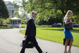 White House Photo - Senior Advisor for Policy Stephen Miller left and White House Press Secretary Kayleigh McEnany walk on the South Lawn of the White House in Washington DC US as United States President Donald J Trump departs for Yuma Arizona on Tuesday June 23 2020  Trump stated that he authorized the Federal government to arrest any demonstrator caught vandalizing US monuments with a punishment of up to 10 years in prison  Credit Stefani Reynolds  CNPAdMedia