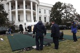 Hu Jintao Photo - On the South Lawn of the White House workers install part of a ramp for the scheduled January 19 2011 arrival ceremony for President Hu Jintao of China on Monday January 17 2011  Credit Dennis Brack  Pool via CNPPhoto by Dennis Brack PoolCNP-PHOTOlinknet