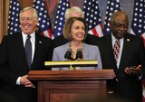 House Speaker Nancy Pelosi Photo - RESTRICTED NO NEW YORK OR NEW JERSEY NEWSPAPERS WITHIN A 75 MILE RADIUS OF NYCUnited States House Speaker Nancy Pelosi (Democrat of California) center and US House Democratic Leaders celebrate the passage of the health care reform bill in the US Capitol in Washington DC early Monday morning March 22 2010  From left to right US House Majority Leader Steny Hoyer (Democrat of Maryland) left Speaker Pelosi anPhoto by Ron Sachs-CNP-PHOTOlinknet