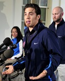 Apolo Anton Ohno Photo - Apolo Anton Ohno Olympic Short Track Speed Skater makes remarks to reporters after meeting United States President Barack Obama and first lady Michele Obama at the White House in Washington DC on Wednesday April 21 2010Photo by Ron SachsPool-CNP-PHOTOlinknet