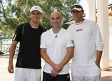Mike Bryan Photo - Photo by NPXstarmaxinccom200892708Andre Agassi with Bob Bryan and Mike Bryan at the All-Star Tennis Smash(Thousand Oaks CA)Not for syndication in France