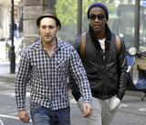 Antony Costa Photo - Lee Ryan Simon Webbe Duncan James and Antony Costa of the newly reformed UK boy band Blue are in a hurry as they arrive late for an appearance on the Steve Wright Show on BBC Radio 2 London UK 41111