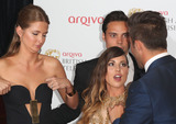 Andy Jordan Photo - Millie Mackintosh Louise Thompson Andy Jordan and Spencer Matthews in the press room at the TV BAFTA Awards 2013 Royal Festival Hall London 12052013 Picture by Henry Harris  Featureflash