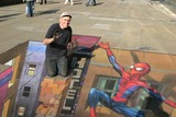 Julian Beever Photo - London Julian Beever with his 3D pavement chalk drawing of Spiderman for the release of the new Spiderman X-Box game16 October 2005Art KarinaLandmark Media