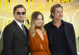 Margot Robbie Photo - London UK  (L to R) Leonardo DiCaprio Margot Robbie and Brad Pitt at  the UK Premiere of Once Upon a Time in Hollywood Odeon Luxe Leicester Square RefLMK386-S2690-300719Gary MitchellLandmark Media WWWLMKMEDIACOM