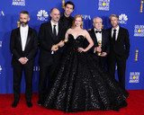 Nicholas Braun Photo - BEVERLY HILLS LOS ANGELES CALIFORNIA USA - JANUARY 05 Jeremy Strong Jesse Armstrong Nicholas Braun Sarah Snook Brian Cox and Alan Ruck pose in the press room at the 77th Annual Golden Globe Awards held at The Beverly Hilton Hotel on January 5 2020 in Beverly Hills Los Angeles California United States (Photo by Xavier CollinImage Press Agency)