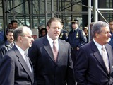 Abner Louima Photo - 3702_Brooklyn New York_Former New York City police officer Charles Schwarz (C) outside the Federal Courthouse in Brooklyn after being released on One million dollars bail in the police torture of Abner Louima Schwarz was convicted of holding Louima down while police officer Justin Volpe sodimized Louima with a broom handle Schwarz will face another jury in June Ron Fischetti (R) is Schwarzs primary attorney (PhotoNeil Schneider)CREDIT NEIL SCHNEIDERGLOBE PHOTOS INC  2002