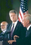 Yitzhak Rabin Photo - Bill Clinton with King Hussein of Jordan and Yitzhak Rabin of Israel Holding Press Conference 7261994 16863 Photo by James ColburnipolGlobe Photos Inc