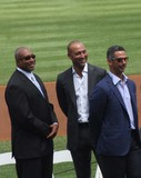 Derek Jeter Photo - New York Yankees Retire Andy Pettitte Number46 on Sunday August 23rd 2015 Jose Posada Number 20 Was Also Retired on Saturday August 22nd 2015 Photo by William Regan- Globe Photos Inc