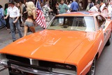 GENERAL LEE Photo - Jessica Simpson Wax Figure Dressed As Daisy Duke and the General Lee From the Dukes of Hazzard Movie Greet Visitors to Madame Tussauds Wax Museum Times Square New York City 08-05-2005 Photo by Rick Mackler-rangefinders-Globe Photos